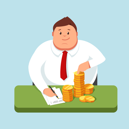 maintains: Fat businessman sitting at a desk and counts profits. Accountant maintains its accounting records. Making money. Vector illustration in style flat is on a blue background