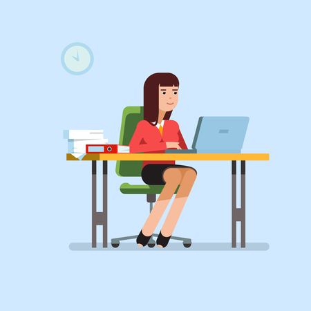 looking at computer: Vector flat illustration business woman sitting at her office desk and working at his laptop. Secretary at work on blue background