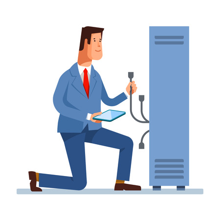 troubleshooting: Vector flat illustration of network engineer administrator working with hardware equipment of data center. Admin and server rack networking service isolated background