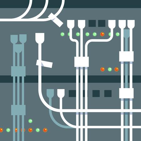 tera: Vector illustration of server rack blue background Illustration