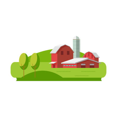 Vector illustration concept eco farming icon. Farm buildings and green fields on white background Illustration