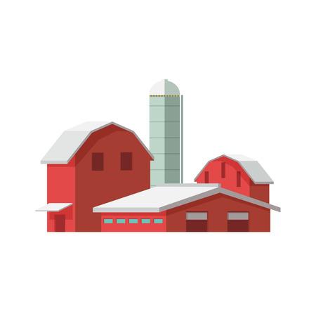 tillage: ilustración vectorial icono de la agricultura ecológica concepto. edificios de la granja en el fondo blanco