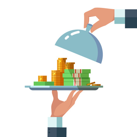 Design concept of easy money. Vector illustration of business hand with plate with money on white background. Get credit Illustration