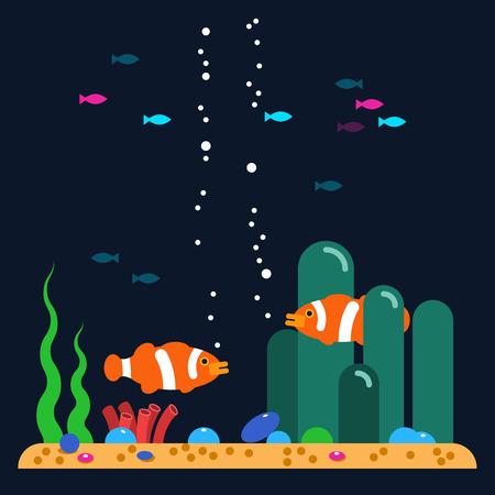 neon fish: Aquarium fishes. Vector flat illustrations and icon set of aquarium tropical fishes underwater. Sea background
