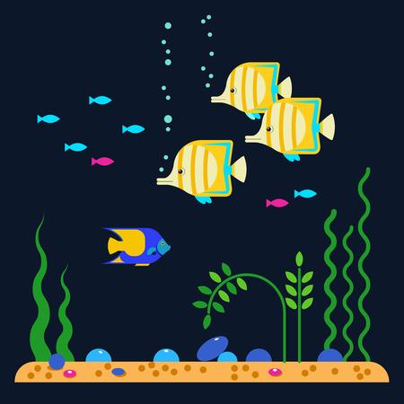 Aquarium fishes. Vector flat illustrations and icon set of aquarium tropical fishes underwater. Sea background