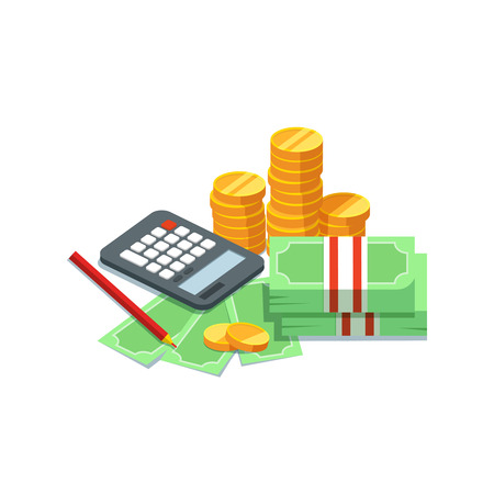 Design concept to count money. Vector illustration of stacks of cash with pile of gold coins bills calculator on white background. Success and finance Stock Illustratie