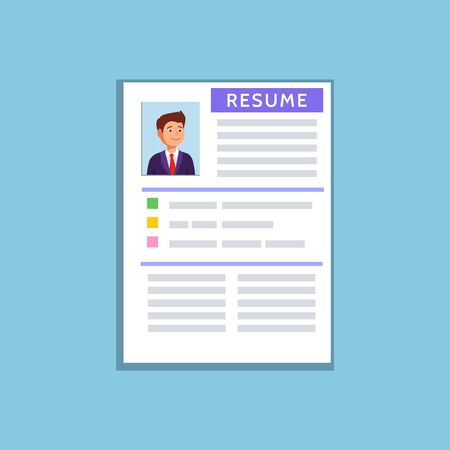 Vector Flat Illustration Of A Resume Cv Icon On Blue Background