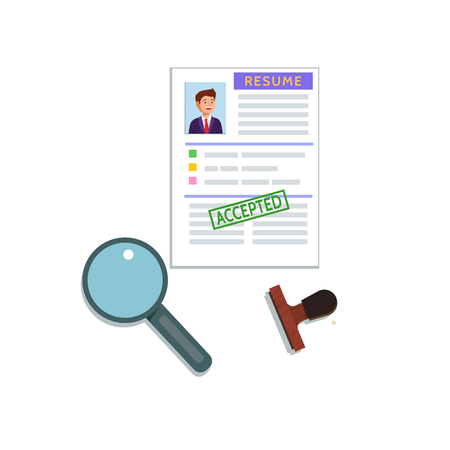 the applicant: Vector flat illustration of a resume cv icon on white background. Recruiting, employment, human resources, team management, accepted concept.