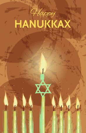 chanukiah: Vector Hanukkah background with menorah. Happy Hanukkah greeting card. Vector illustration in hand draw style
