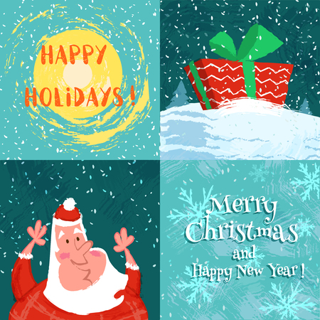 set funny merry christmas card with happy santa claus and christmas gift vector cartoon illustration - Funny Merry Christmas Images