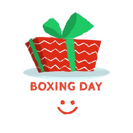 christmastide: Boxing day design with red gift box on white background. Vector illustration for banner poster and flyer. Boxing day greeting card
