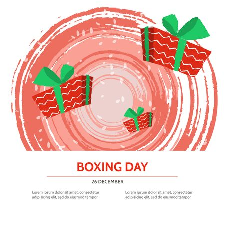 boxing day: Boxing day design with red gift box on textured background . Vector illustration for banner poster and flyer. Boxing day template