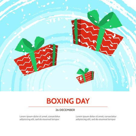 boxing day sale: Boxing day design with red gift box on blue textured background . Vector illustration for banner poster and flyer. Boxing day template Illustration