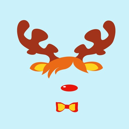 masquerade masks: Carnival masks of rudolph reindeer red nose isolated. Vector cartoon illustration of christmas reindeer masquerade mask Illustration