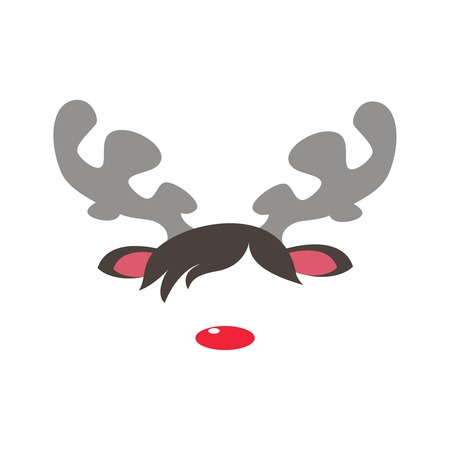 masquerade masks: Carnival masks of rudolph reindeer red nose isolated white background. Vector cartoon illustration of christmas reindeer masquerade mask