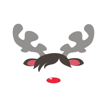 De maskers van Carnaval van het rendier rode neus geïsoleerde witte achtergrond. Vector cartoon illustratie van kerst rendier maskerademasker