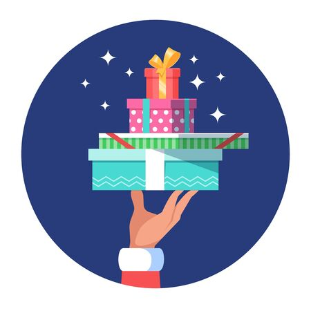 boxing day sale: Hand of Santa Claus holding a big stack many christmas gift boxs on white background. Vector illustration flat color style