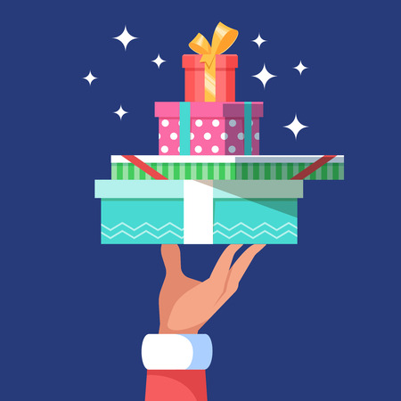 christmastide: Hand of Santa Claus holding a big stack many christmas gift boxs on blue background. Vector illustration for banner poster and flyer flat color style.