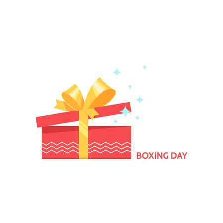boxing day: Boxing day design with open red gift box christmas present on white background. Vector illustration for banner poster and flyer. Boxing day greeting card