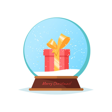 Vector flat illustration christmas snow globe with gift red box. Snow ball on white background isolated Illustration
