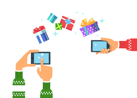 Vector illustration of a hand in christmas winter clothes holding a phone gadget gives Christmas gifts box or get gifts presents. Concept of online shopping in flat style icon on white background