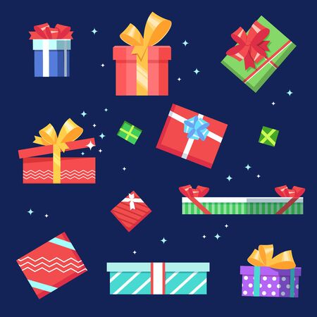 boxing day sale: Set gift boxs present surprise with bow on dark blue background. Vector illustration flat color style