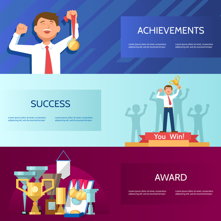 jubilation: Set horizontal banners with successful businessman trophy gold medalin hand. Vector illustration business success and achievements concept