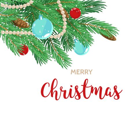 Christmas greeting card background poster. Stock illustration with fir Christmas tree branches and Christmas balls on white isolated background.