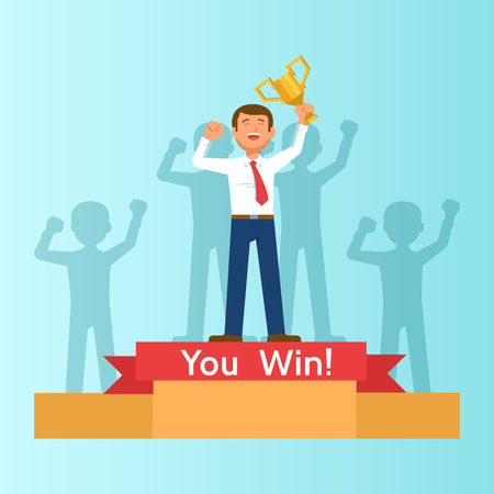 victorious: Young happy businessman winner with award champion cup celebrates victory and success. Vector illustration you win on blue background