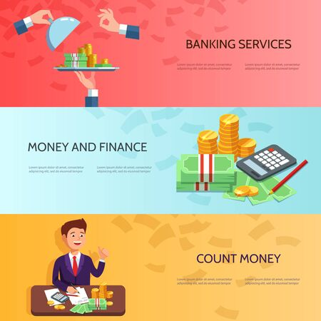 easy money: Set horizontal banners with businessman counts money profit , stack of cash, easy money. Vector illustration banking concept