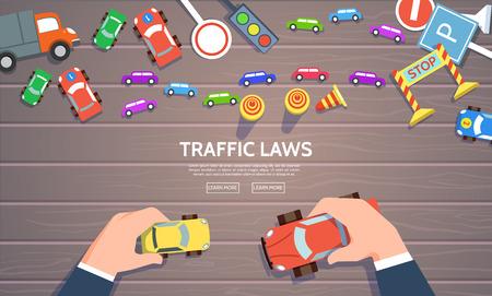 lois de la circulation modèle avec voiture de jeu, symboles de la route. Vector illustration du contrôle de la main du haut de voiture vue concept dans le style plat. Vecteurs