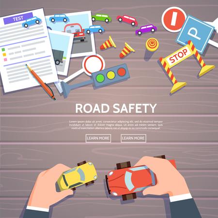 Szablon bezpieczeństwa drogowego z samochodu grać, symbole drogowe. Ilustracji wektorowych kierowców edukacji w stylu płaskiej. Ręka kontrolny samochodowy odgórny widok prawa ruchu pojęcie. Ilustracje wektorowe
