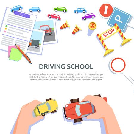 Plantilla de escuela de conducción con coche de juego, símbolos de carretera.