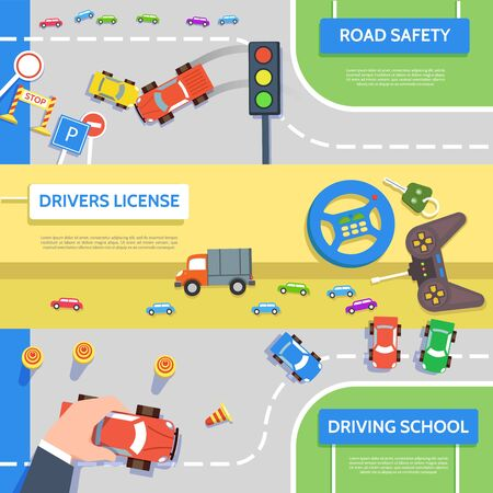 car: Traffic laws template with play car, road symbols. Vector illustration of hand control car top view concept in flat style.
