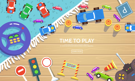 Road safety for kid template in flat style.Vector illustration of kids toy cars traffic signs wheel machine with a remote control lying on floor top view. Preschooler learning studying