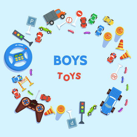 Boy toy cars and road signs on blue background flat design