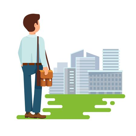 Vector illustration concept of search of work flat style. The young man, a student stands with his back to us and looking for a job modern building city background Illustration