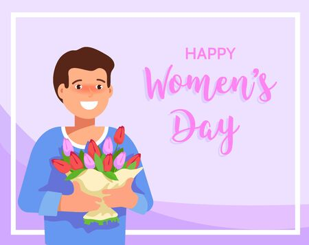 greet card: Flat vector illustration of a smiling young man holding a bouquet of spring flowers. Greeting card March 8 International Womens Day