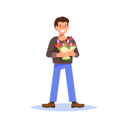 Flat vector illustration of a smiling young man holding a bouquet of spring flowers on a white background. Concept give flowers for the holiday March 8 Womens Day