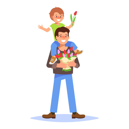 Flat vector illustration of a smiling young man holding a bouquet of spring flowers. Element for greeting card March 8 International Womens Day with father and small boy is sitting on his shoulders