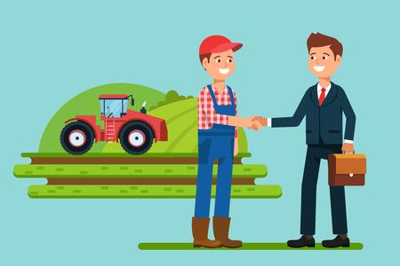 Gli uomini d'affari riunione si stringono la mano contadino. Saluto al partner e business handshake. illustrazione Archivio di vettore di stile piatta Vettoriali