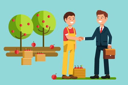 揺れ手農民会議ビジネスマン。パートナーとビジネスの握手の挨拶。株式ベクトル図フラット スタイル