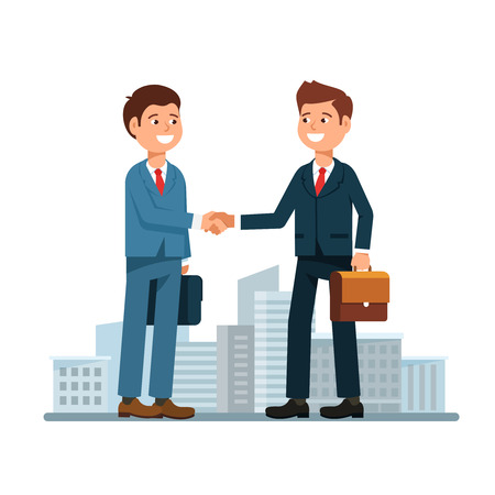 The meeting of two businessmen and business handshake on cityscape background. Couple young man in a business suit shaking hand in greeting to the partner. Stock vector illustration flat style