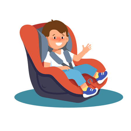 Vector illustration of happy smiling child sitting in a car seat on a white background 版權商用圖片 - 72389209