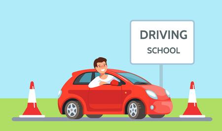 Illustrazione vettoriale di giovane uomo felice di posizionamento in rosso scuola di guida auto all'aperto in stile piatto. Formazione dei costruttori di concetti.