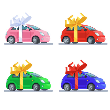 Vector illustration set multicolor pink, red, blue, green cars with bow flat style on white background. Concept design gift automobile or car presentation Illustration