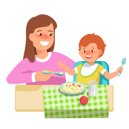 Vector illustration of happy mother feeding her child in flat style on white background. Meal in a kindergarten or home. Concept complementary food Vetores