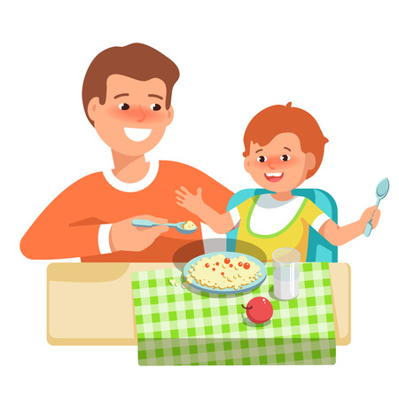 complementary: Vector illustration of happy father feeding her child in flat style on white background. Meal in a kindergarten or home. Concept complementary food