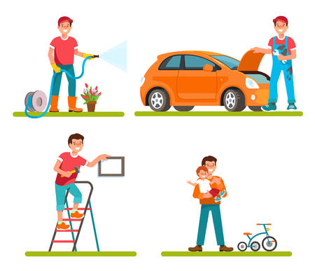 householder: Vector ilustration of father householder isolated flat style. Dad repair machine, watering plants in garden, makes repairs at home, leisure time with child. Illustration