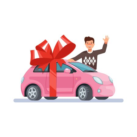 Vector illustration man wave his hand and give pink mini woman car with red bow flat style on blue background. Concept design gift girl automobile. Illustration